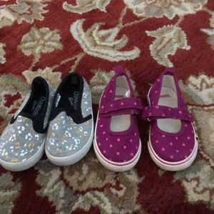 2 pairs of little girl shoes